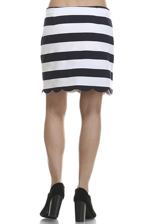 Ivory & Navy Scallop Skirt