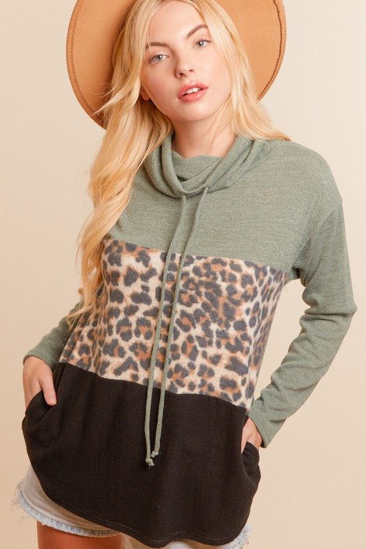 Olive, Leopard, and Black Tunic Hoodie