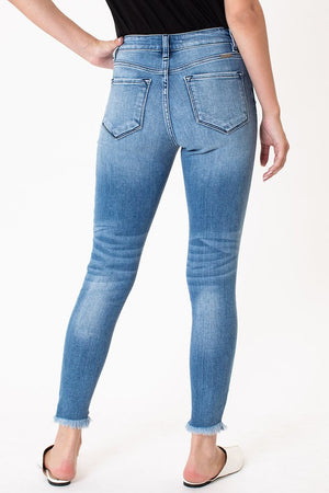 KanCan Light Wash High Rise Raw Hem Jeans