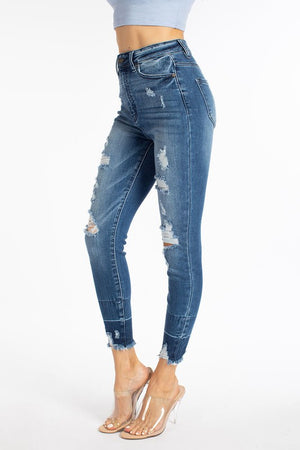 KanCan Medium Wash Raw Hem Distressed Jeans