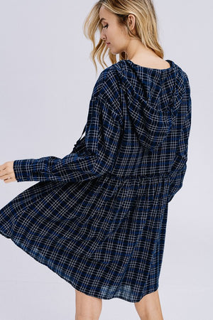 Navy Plaid Hooded Dress