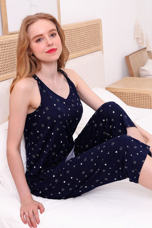 Navy With White Stars Tank & Capri Lounge Wear
