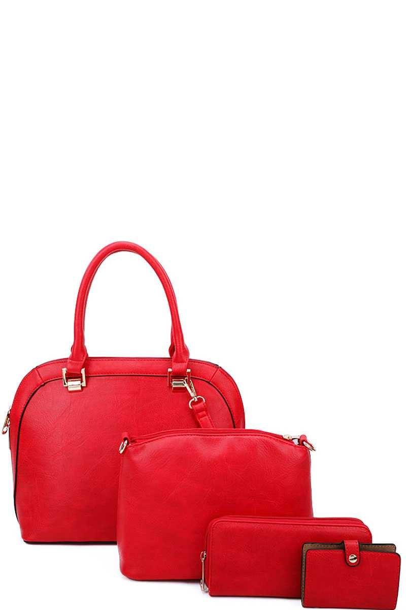 Red 4-in-1 Modern Satchel Purse