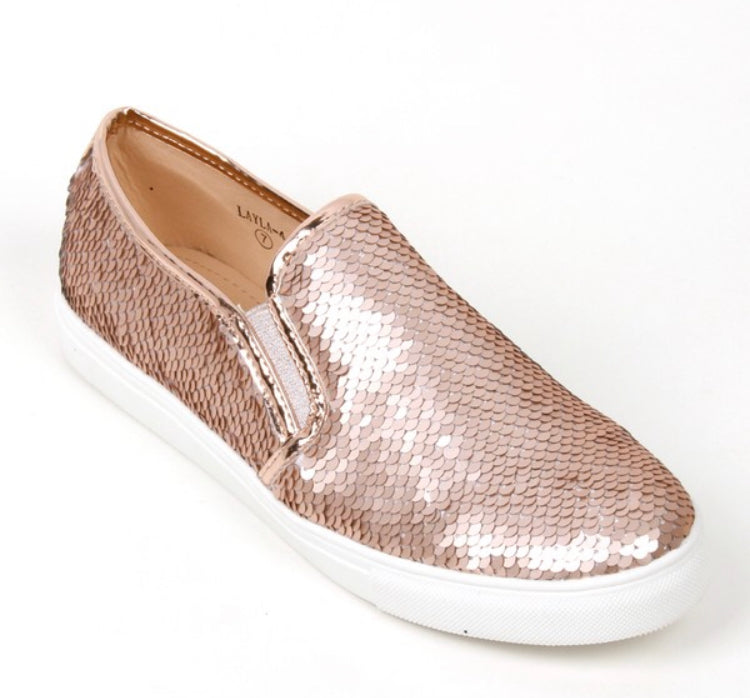 Rose Gold Sequin Mermaid Slip-Ons