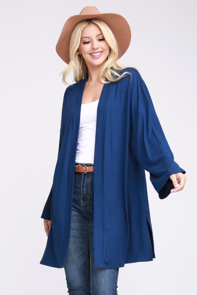 Royal Blue Long Sleeve Kimono Cardigan