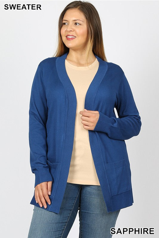 Open Front Mid-Length Cardigan (Curvy)