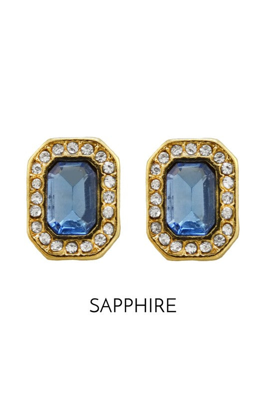 Gold Stud Earring with Sapphire Gem