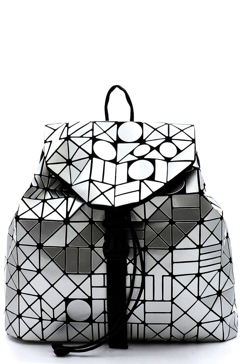 Silver Geometric Backpack Purse