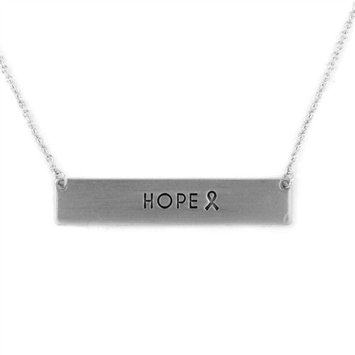 "Silver Bar Necklace Saying ""Hope"""