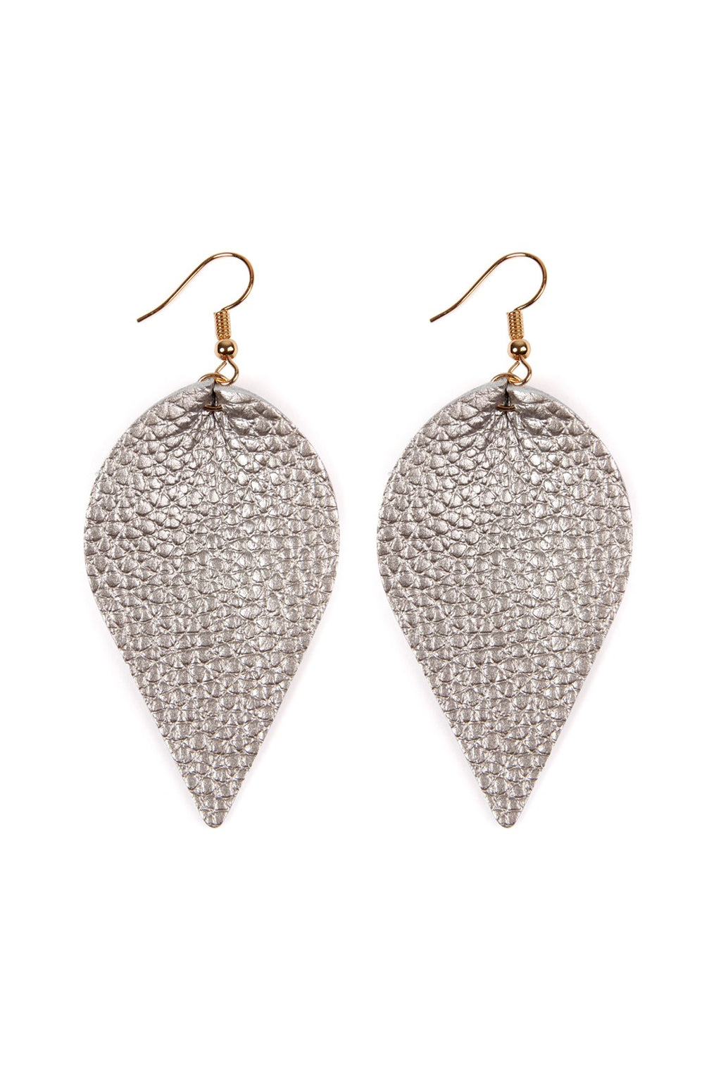 Silver Leather Pinched Tear Drop Earrings