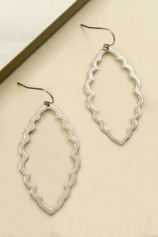 Silver Wavy Marquise Earring