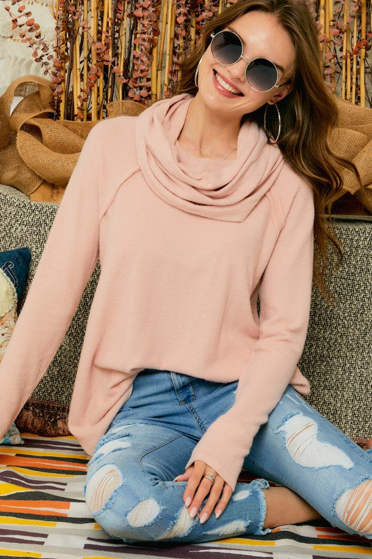 Smoke Pink Cowl Neck Tunic Top