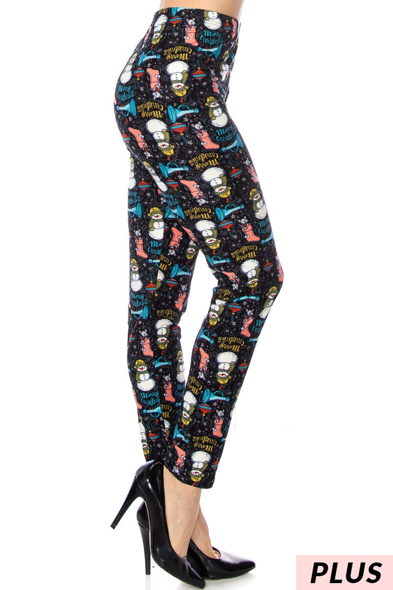 Snowman/Holiday Pattern Leggings Curvy (Fits sizes 10-18)