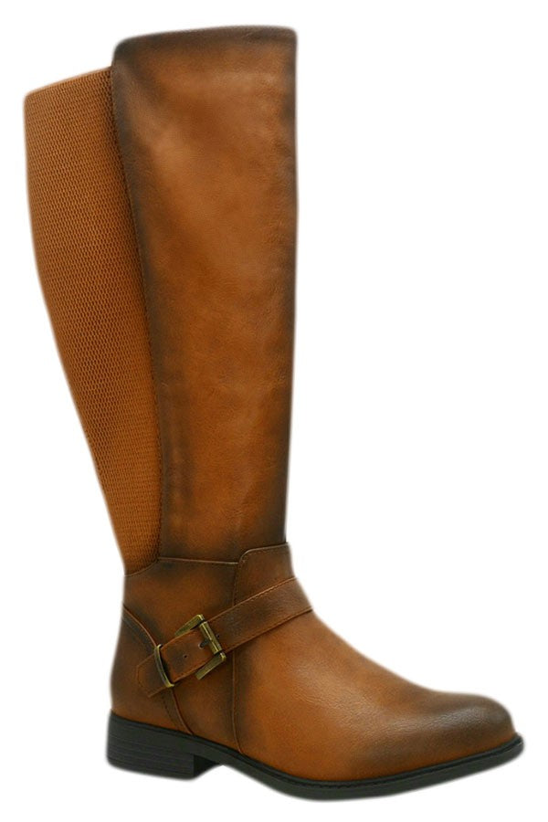 Cognac Wide Calf Riding Boots