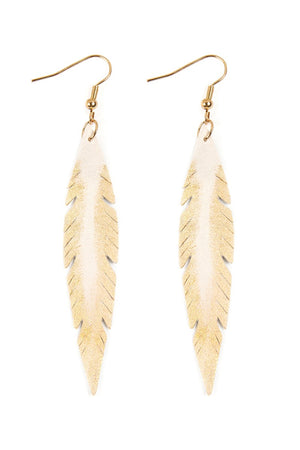 White Leather Feather Shape Earring