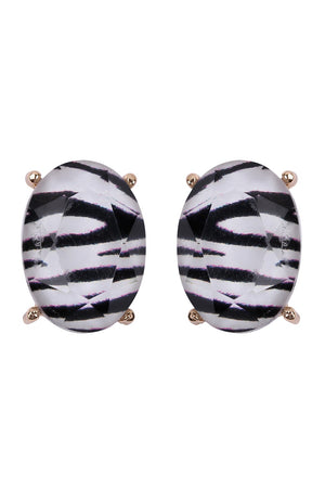 Zebra Oval Cushion Stud Earring
