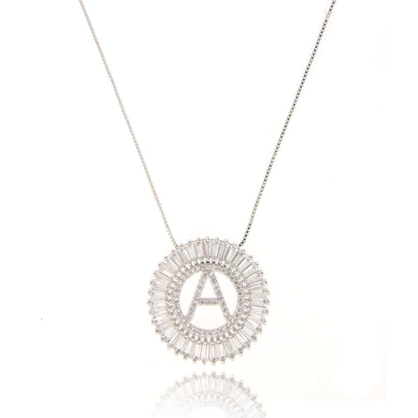 Mandala Letter Necklace A - Z | WHITE RHODIUM PLATED - Unique Brazilian Jewelry (4364776112203)