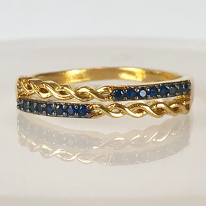RING WITH BLUE ZIRCONIA STONES INTERLACED MODEL CODE: RO211 [ 18K GOLD PLATED ] - Unique Brazilian Jewelry (1909389852742)