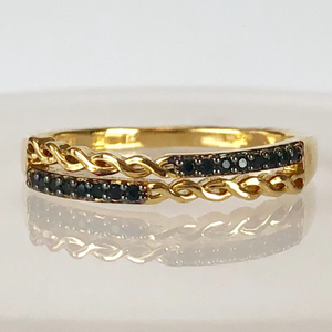 RING WITH BLACK ZIRCONIA STONES INTERLACED MODEL CODE: RO210 [ 18K GOLD PLATED ] - Unique Brazilian Jewelry (1909385199686)