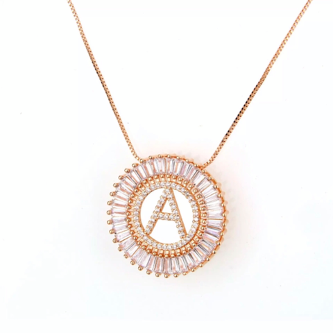 Mandala Letter Necklace A - Z | ROSE GOLD PLATED - Unique Brazilian Jewelry (4364774146123)