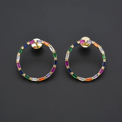 STUDDED CIRCLE RAINBOW EARRINGS | CODE: CH201 - Unique Brazilian Jewelry (4121143640134)