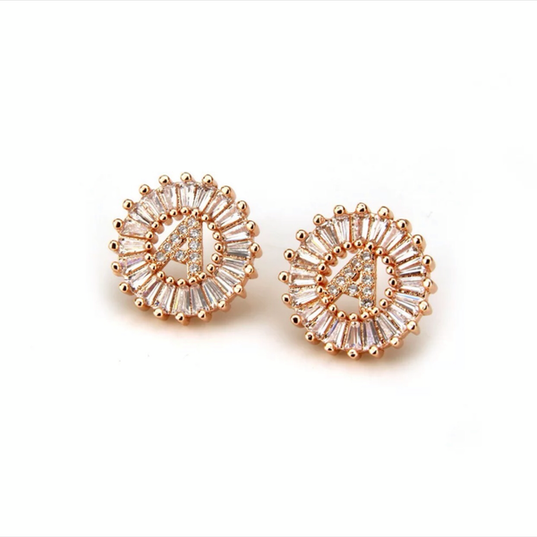 Mandala Letter Earrings A - Z | ROSE GOLD PLATED - Unique Brazilian Jewelry (4364771655755)