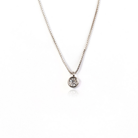 SMALL STUD NECKLACE | White Rhodium Plated