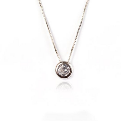 LARGE STUD NECKLACE | White Rhodium Plated