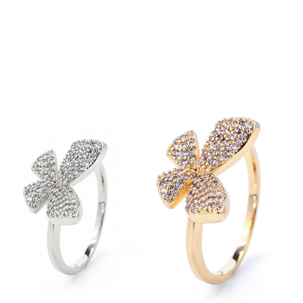 STUDDED BUTTERFLY RING | 18K Gold & White Rhodium - Unique Brazilian Jewelry (4510789697611)