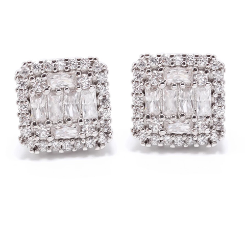 STUDDED SQUARE EARRINGS | White Rhodium Plated (4676503273547)