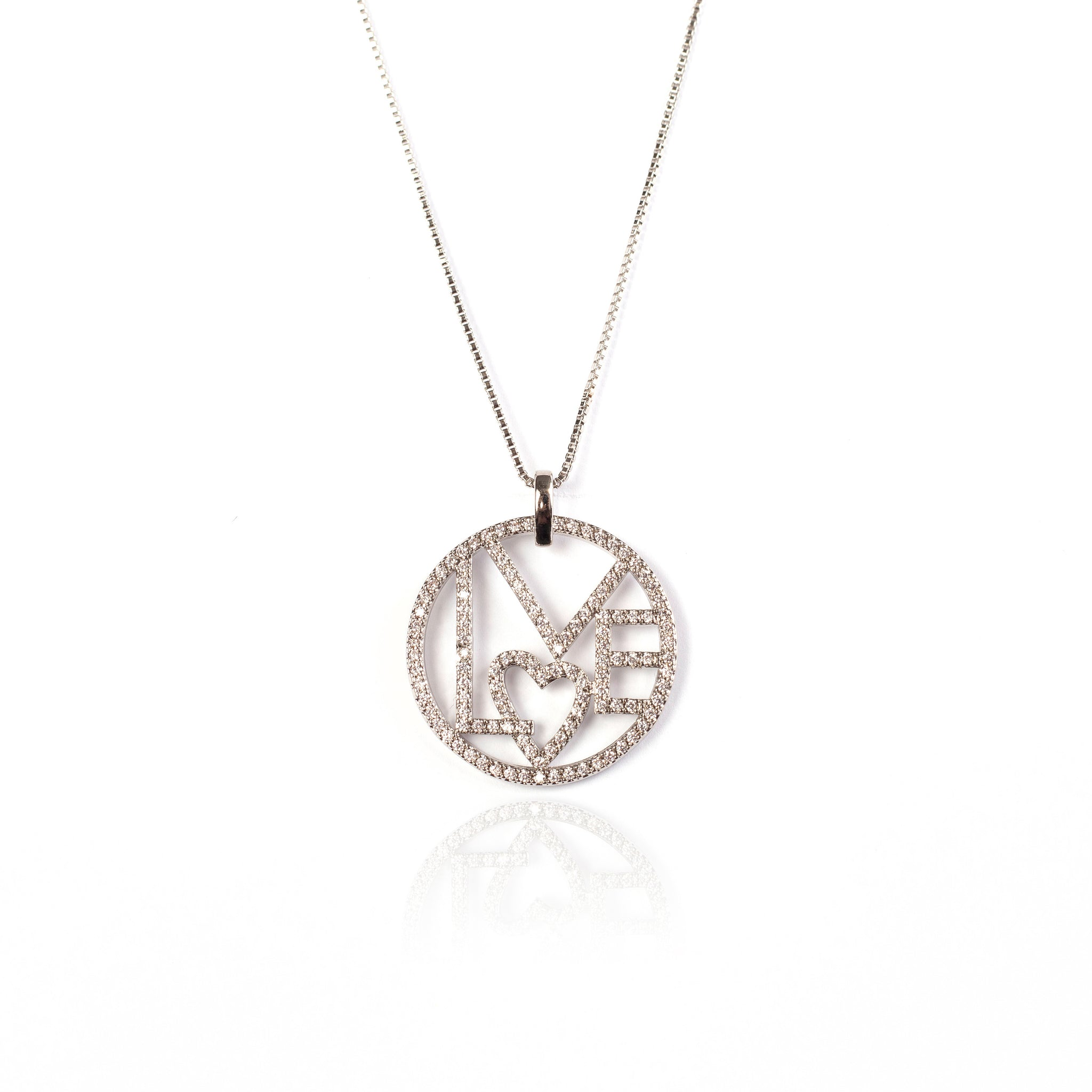 LOVE NECKLACE | White Rhodium Plated