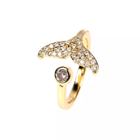 STUDDED WHALE TAIL RING | 18K Gold Plated (4682929799243)