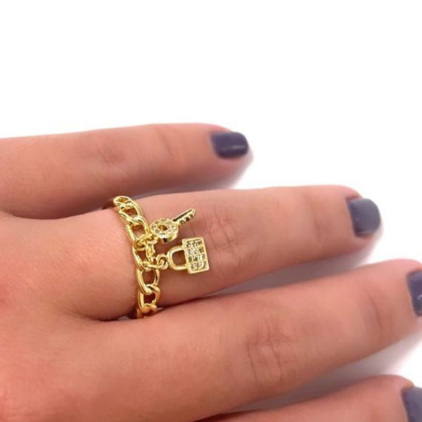 LOCK & KEY ADJUSTABLE RING | 18K Gold Plated
