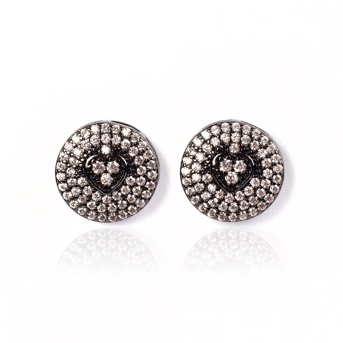 CIRCLE HEART EARRINGS | Black Rhodium Plated
