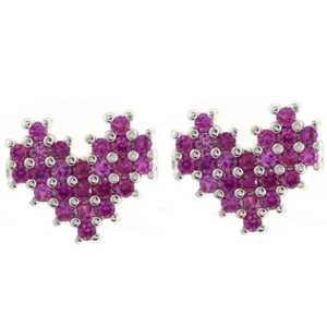 STUDDED HEART SMALL EARRINGS | CODE: KA16 - Unique Brazilian Jewelry (4497784864843)