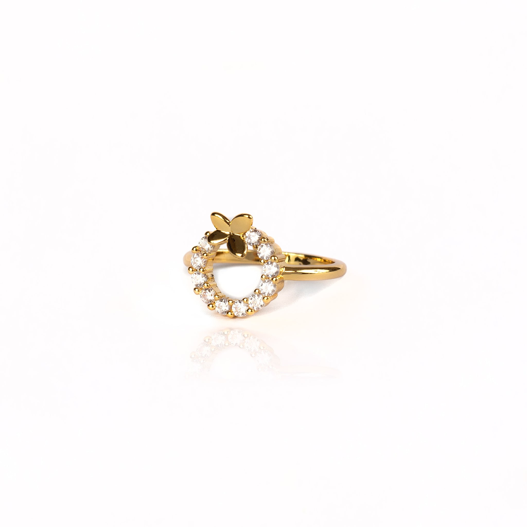 CIRCLE BUTTERFLY RING | 18K Gold Plated