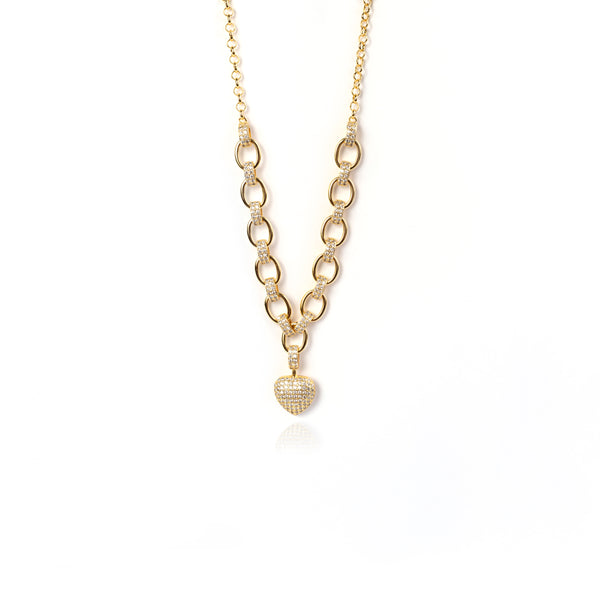 QUEEN STUDDED HEART NECKLACE| 18K Gold Plated