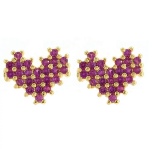 STUDDED HEART SMALL EARRINGS | CODE: KA15 - Unique Brazilian Jewelry (4497782210635)