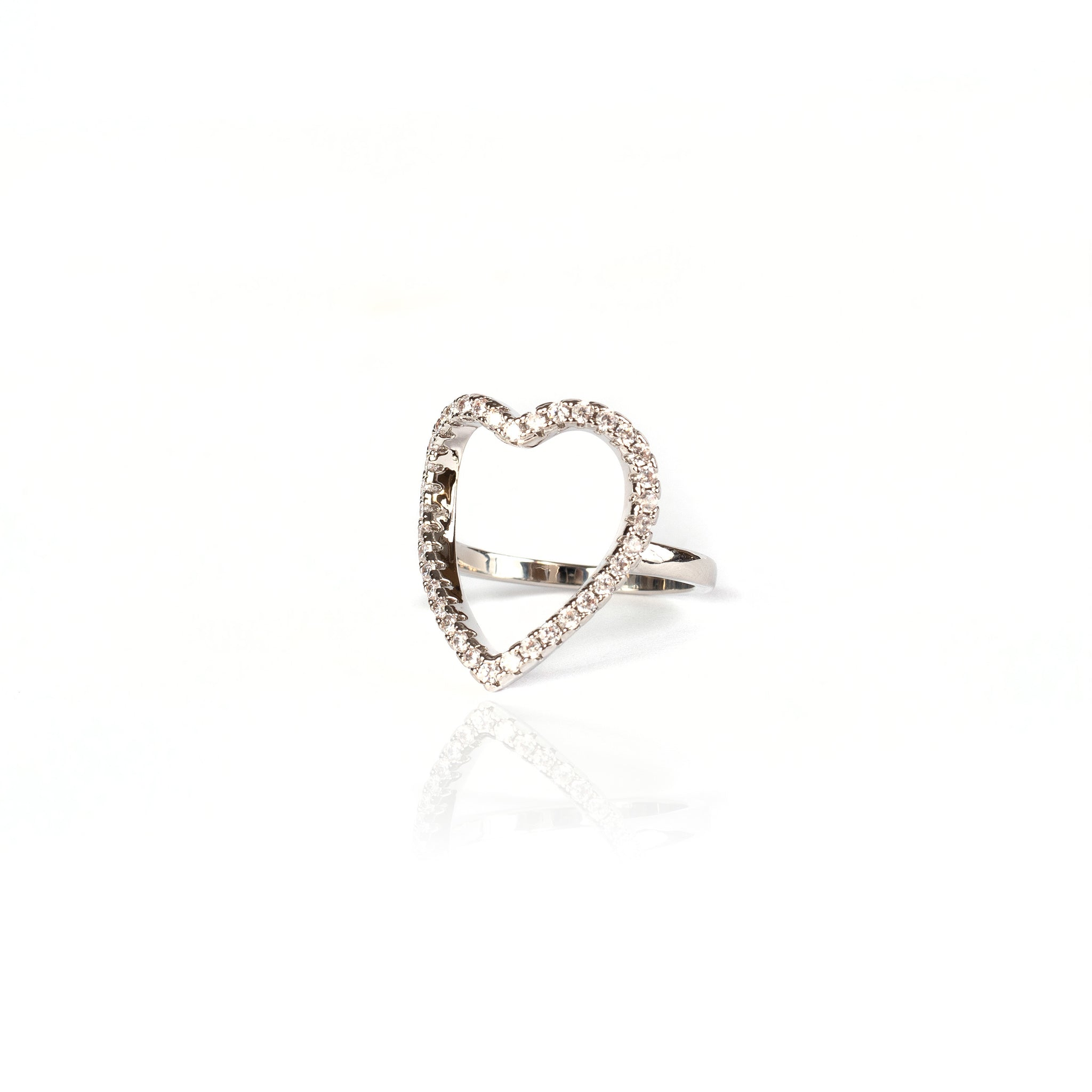 OPEN HEART RING | White Rhodium Plated