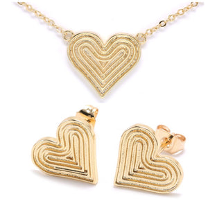 18K GOLD PLATED HEART SET - Unique Brazilian Jewelry (4506187923531)