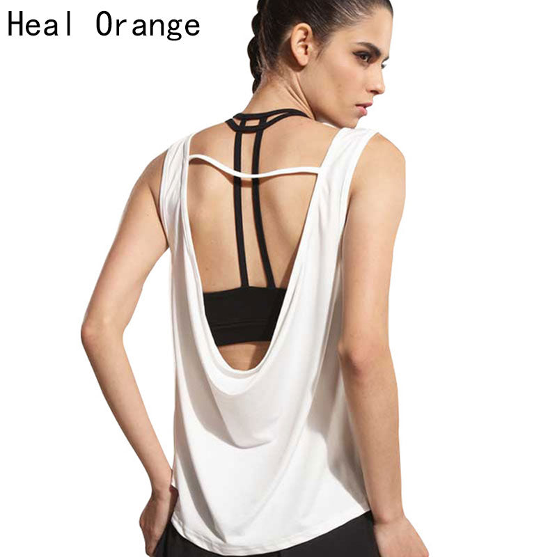 HEAL ORANGE Womens Sport Shirts Yoga Tops Sleeveless Vest Fitness Running Clothes for Female Breathable Tank Tops Running Vest