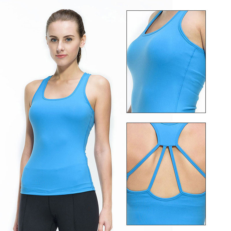 Women Fitness Tights Yoga Vest Gym Sports Sleeveless Shirts Compression Female T-shirt Nylon Sexy Sportswear Tank Top