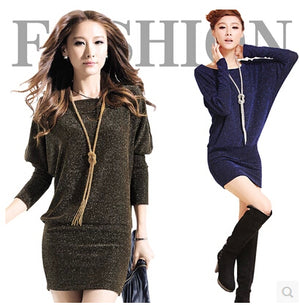Winter Batwing Sleeve Dress Fashion Shinny A-line Mini Vestidos OL Long Sleeve Dresses Sexy Party Dress Female Casual Wear L8079