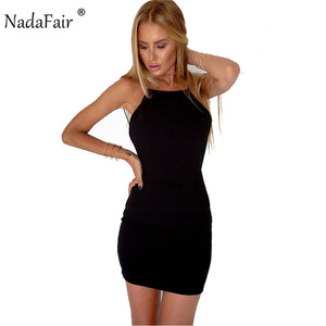 Nadafair 95% Cotton Spaghetti Strap Black Sexy Club Backless Bodycon Mini Dress.