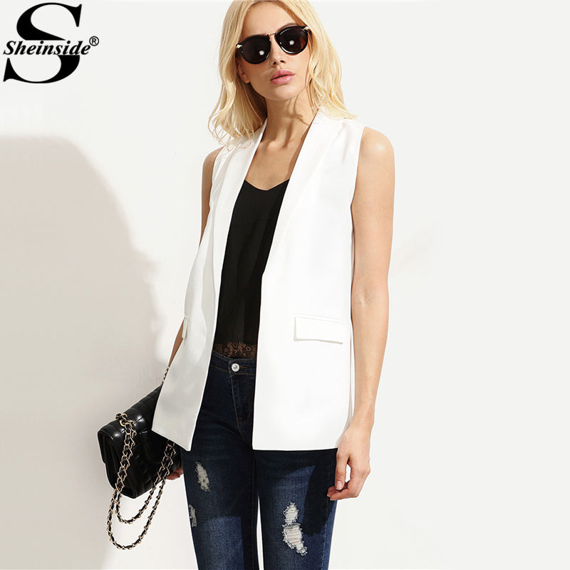 Sheinside Shawl Lapel Blazer Vest OL Elegant Open Front Women White Sleeveless Waistcoat Summer New Brief Slim Pockets Work Vest