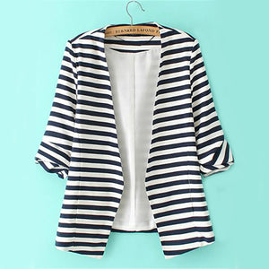 Sheinside Striped Rolled Sleeve Blazers OL Work Women Casual Open Front Coat 2020 Autumn Fashion Collarless Slim Elegant Blazer