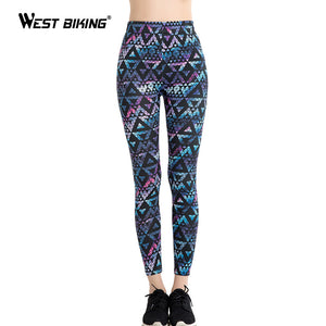 WEST BIKING Yoga Pants Athleisure High Waist legging 3D Printed Harajuku Elastic Fitness Leggings Women Pants Push Up Yoga Pants