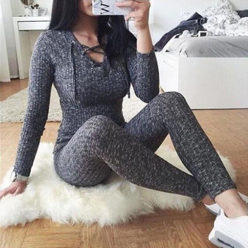 Rompers Women Jumpsuit 2019 New Fashion Long Sleeve Sexy V Cross Bandage Neck Knitted Bodycon Long Pant Slim Sweater Jumpsuits