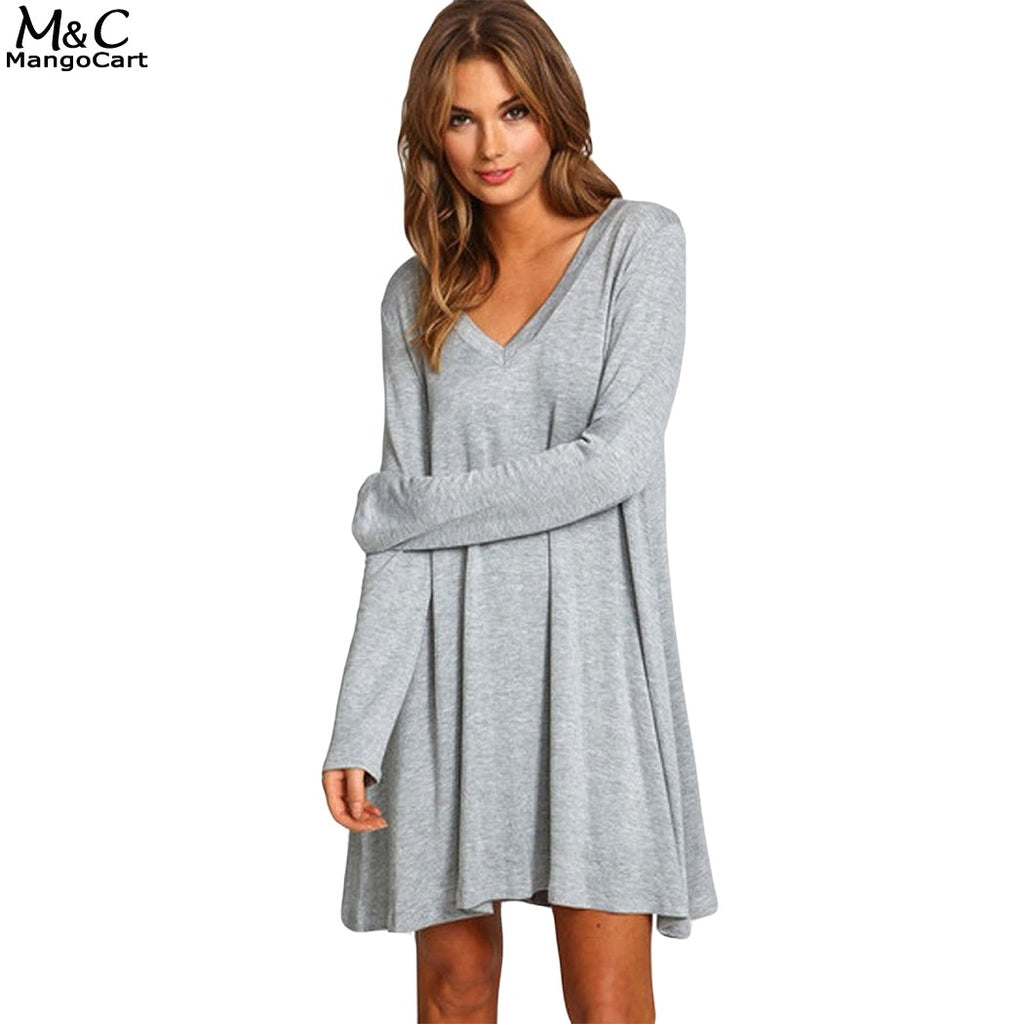 FANALA Women Dress 2019 Sexy Gray Dress Casual Long Sleeve.
