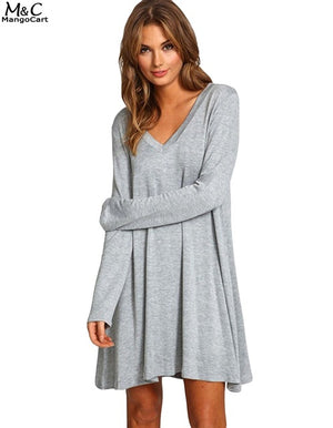 FANALA Women Dress 2019 Sexy Gray Dress Long Sleeve Casual Gray Mini Autumn Spring Dress Party Slim Work Wear